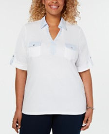 Karen Scott Plus Size Cotton Collared Top, Created for Macy's