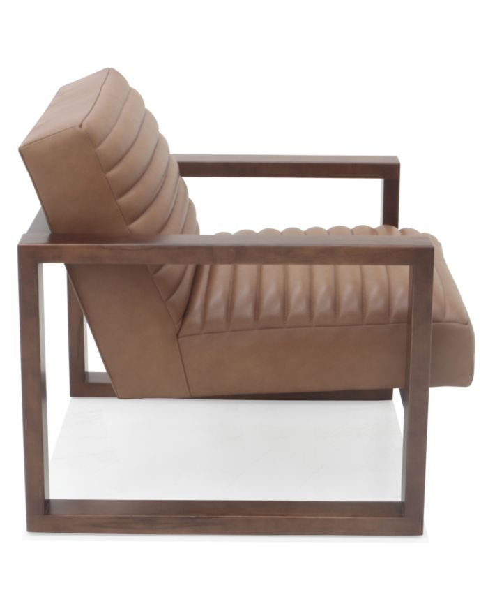 """Hotel Collection Canillo 33"""" Leather and Wood Accent Chair & Reviews - Chairs - Furniture - Macy's"""