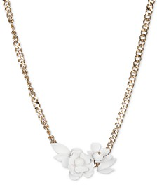 "DKNY Gold-Tone White Floral Frontal Necklace, 16"" + 3"" extender, Created for Macy's"