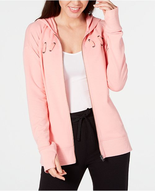 Ideology Lace-Up Zip Hoodie, Created for Macy's