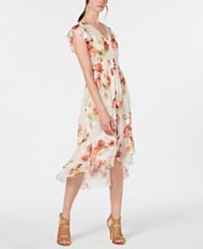 Elie Tahari Minda Floral Smocked Chiffon Dress