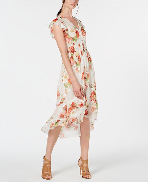 317a0429ee2c Elie Tahari Minda Floral Smocked Chiffon Dress & Reviews - Women ...