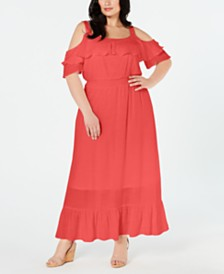NY Collection Plus Size Cold-Shoulder Maxi Dress