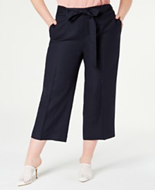 Bar III Plus Size Wide-Leg Belted Capris, Created for Macy's