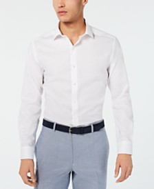 Bar III Men's Slim-Fit Performance Stretch Tonal Houndstooth Dress Shirt, Created for Macy's
