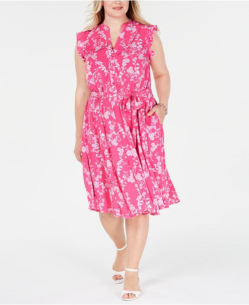 Plus Size Belted Floral-Print Dress, Created for Macy\'s