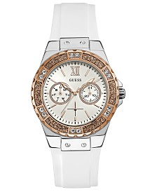GUESS Women's White Silicone Strap Watch 39mm
