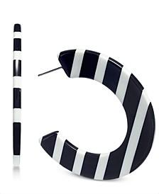 INC Striped Resin Medium Hoop Earrings , Created for Macy's
