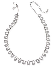 "I.N.C. Silver-Tone Pavé Teardrop Statement Necklace, 16"" + 3"" extender, Created for Macy's"