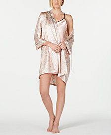 Linea Donatella Contrast-Trim Chemise Nightgown and Printed Wrap Robe Set