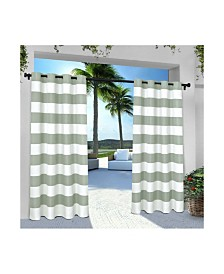 Exclusive Home Indoor Outdoor Stripe Cabana Grommet Top Curtain Panel Pair