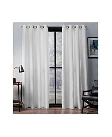 Exclusive Home Eglinton Woven Blackout Grommet Top Curtain Panel Pair