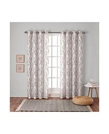 Branches Linen Blend Grommet Top Curtain Panel Pair