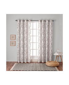 Exclusive Home Branches Linen Blend Grommet Top Curtain Panel Pair