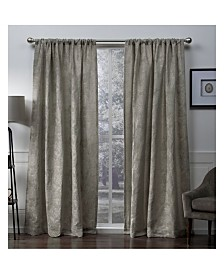 Exclusive Home Elle Chenille Floral Scroll Woven Blackout Rod Pocket Curtain Panel Pair