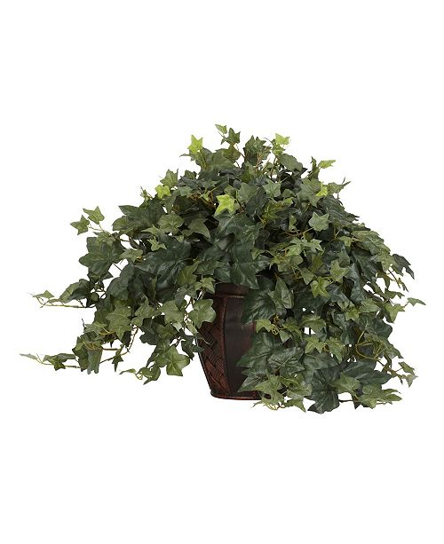 Nearly Natural Puff Ivy w/ Decorative Vase Silk Plant