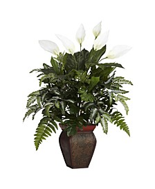 Mixed Greens w/ Spathiphyllum and Decorative Vase Silk Plant