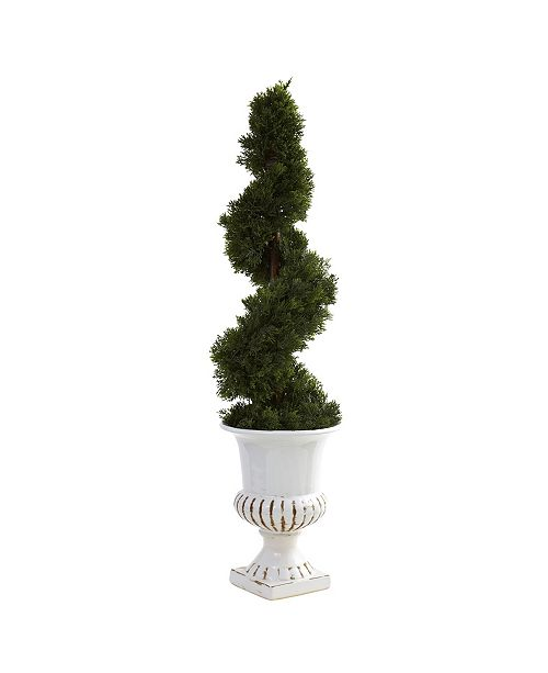 Nearly Natural Cedar Spiral w/ Urn