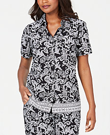 Karen Scott Petite Short-Sleeve Paisley-Parade Top, Created for Macy's