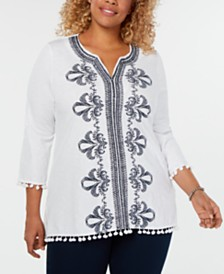 Charter Club Plus Size Cotton Embroidered Tunic, Created for Macy's
