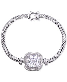 Cubic Zirconia Center Stone Mesh Bracelet in Sterling Silver