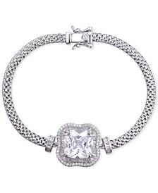 Tiara Cubic Zirconia Center Stone Mesh Bracelet in Sterling Silver