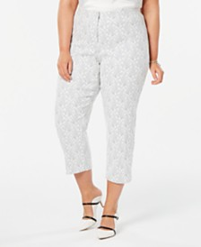 Alfani Plus Size Printed Skinny Capris, Created for Macy's