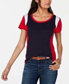 Tommy Hilfiger Colorblocked Cotton T-Shirt, Created for Macy's