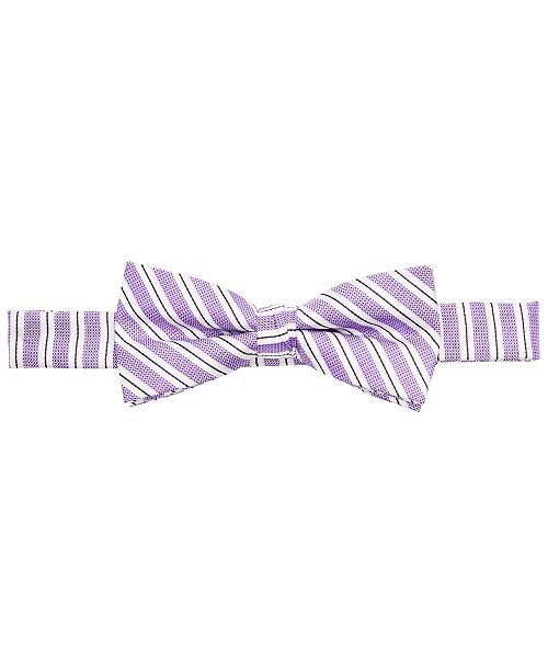 Tommy Hilfiger Little Boys Dallas Purple Stripe Pre-Tied Silk Twill Bow Tie