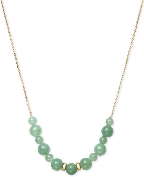 """Macy's Dyed Jade Beaded 18"""" Necklace in 14k Gold"""