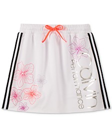 Calvin Klein Performance Big Girls Side-Striped Floral-Print Skooter Skort