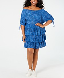 8637857	MICHAEL Michael Kors Plus Size Printed Off-The-Shoulder Top & Mosaic-Print Tiered Skirt