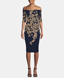 XSCAPE Off-The-Shoulder Gold-Embroidered Dress