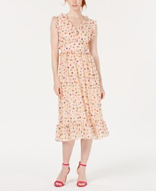 Betsey Johnson Ruffled Bug-Print A-Line Dress