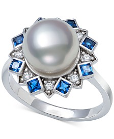 Cultured Freshwater Pearl (9-10mm) & Cubic Zirconia Statement Ring in Sterling Silver