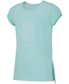 adidas Big Girls Logo-Print Vented-Hem T-Shirt