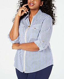 Plus Size Mini-Dog-Tag Full-Zip Striped Top