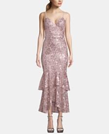 Betsy & Adam Sequin Ruffled Midi Dress