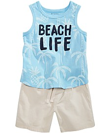 First Impressions Baby Boys Graphic-Print Tank Top & Shorts Separates, Created for Macy's