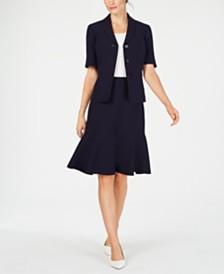 Le Suit Petite Flare-Hem Skirt Suit