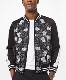 Michael Kors Men's Slim-Fit Floral Embroidered Bomber Jacket
