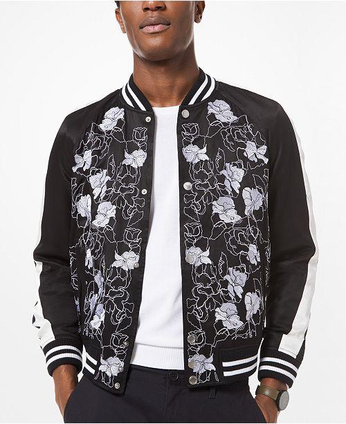 Michael Kors Men's Slim-Fit Floral Embroidered Bomber Jacket