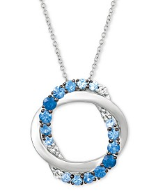 "Le Vian® Blueberry Layer Cake Blueberry Sapphires (1 ct. t.w.) & Vanilla Sapphires (1/10 ct. t.w.) 20"" Pendant Necklace in 14k White Gold"