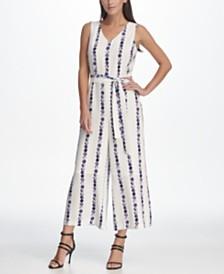 DKNY Sleeveless Tie Waist Jumpsuit