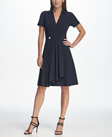 DKNY V-Neck Collared Embellished A-line Dress