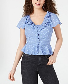Juniors' Printed Ruffled Peplum Top