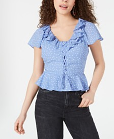 Planet Gold Juniors' Printed Ruffled Peplum Top