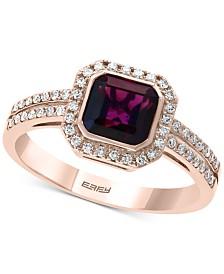 EFFY® Garnet (1-9/10 ct.t.w.) & Diamond (1/4 ct.t.w.) Ring in 14k Rose Gold