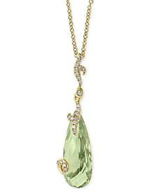 "EFFY® Green Quartz (7 ct. t.w.) & Diamond (1/10 ct. t.w.) 18"" Pendant Necklace in 14k Gold"