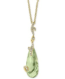 "EFFY® Prasiolite (7 ct. t.w.) & Diamond (1/10 ct. t.w.) 18"" Pendant Necklace in 14k Gold"
